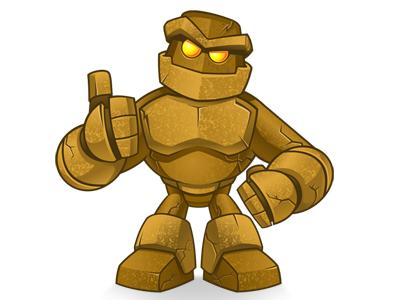 Golem Mascot rock golem mascot cartoon character vector texture