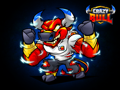 Crazy Bull - Mascot Design And Logo Identity nutrition gym fitness energy character cartoon vector mascot character design crazy mascot design bull