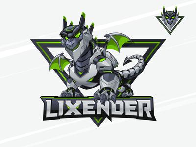 Lixender - Gamer Mascot and Character Logo mecha dragon mixer twitch youtuber gamer logo esports logo gamer mascot cartoon logo mascot design character design mascot