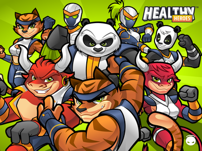 HealthyHeroes - Good Guys game characters fitness mascot health mascot fitness app health app cyborg mascot bull mascot ox mascot panda mascot tiger mascot app illustration mascot character design mascot design