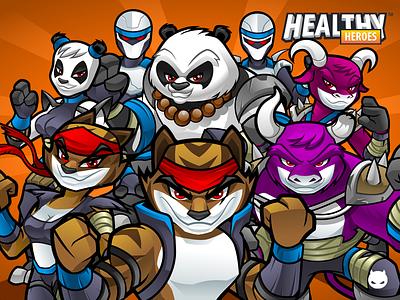 HealthyHeroes - Villains android mascot ios mascot villains android characters ios characters app characters cartoon characters vector characters tiger tiger mascot panda mascot mascot panda app illustration character design mascot design
