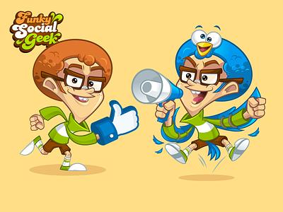Social Media Geek Mascot marketing mascot social media mascot vector stock mascot funky mascot youtuber facebook mascot twitter mascot nerd nerd mascot geek geek mascot socia media character design mascot design