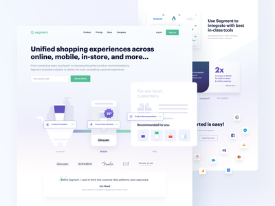 🤝 Segment — B2B and Retail — Redesign uiux ux ui clean ui stripe catalog integrations customers animations animation clean visual retail b2b tonik segment landing page landing website design website
