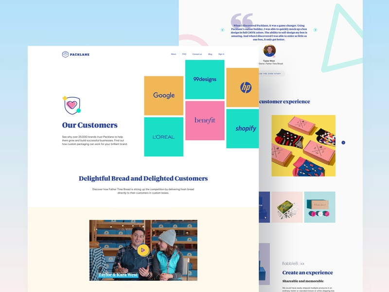 Packlane — Our Customers page package product colorful ux interface landingpage lp web design web clients customers components visual clean typography ui webdesign design landing website
