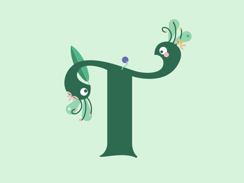 Two birdies staring at each other 🦚♥ pastel nature leaves minimal green birds cute animals peacock awkward cute serif typeface character alphabet letter t typography