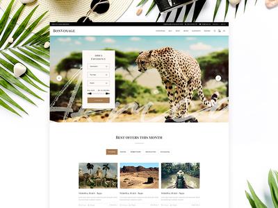 Bon Voyage wordpress website mockup trip tour voyager vacations explore summer wild wilderness exotic safari booking travel agency adventure travel