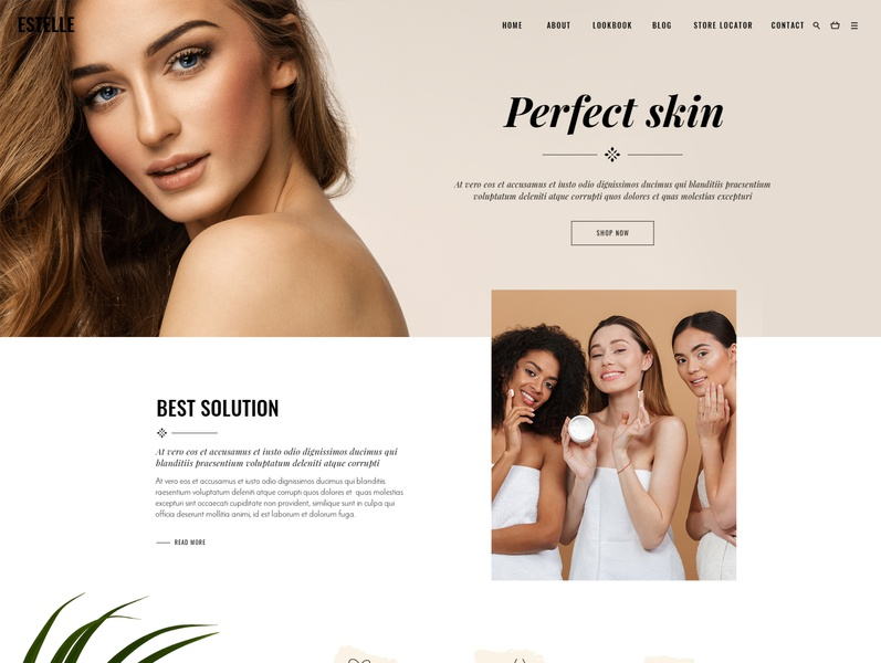 Estelle Cosmetic Home shop website mockup wordpress brand style modeling blog lifestyle fashion ecommerce cosmetic shop cosmetic