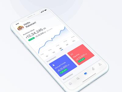 Mutual Fund Portfolio investment product design equities dashboard portfolio business finance app mutual fund concept mobile app ios ui