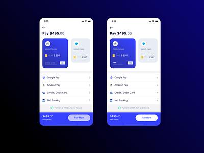 Payment Options minimal payment design app mobile ios ui