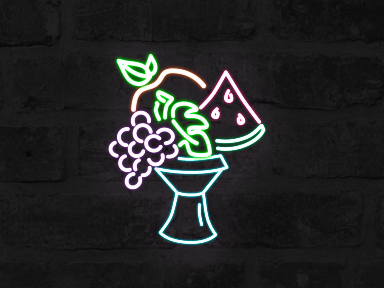 Fruits neon light neon icon vector design logo fruits