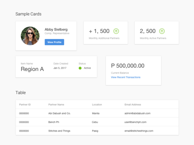 Cards dashboard clean simple minimal material ux ui cards