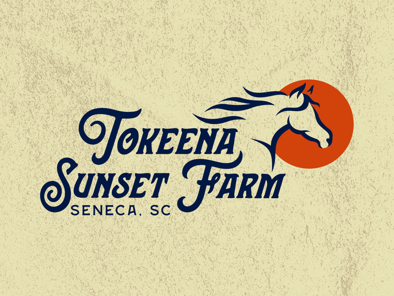 Sunset Farms south carolina howdy yee haw southern logo design retro vintage logo farm sunset horse