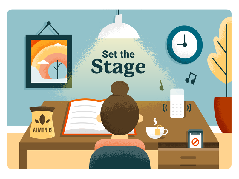 Set the Stage illustration books study alexa top bun girl school finals office space snacks music environment desk person studying office