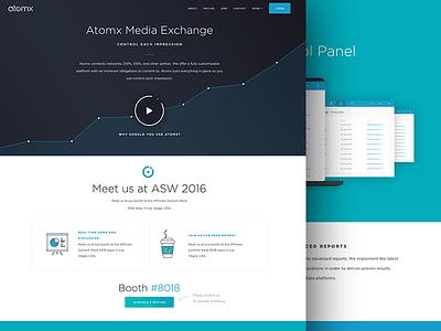 Atomx - Online Advertising Platform simple minimalistic app chart color flat ui user interface dashboard landing page website advertising