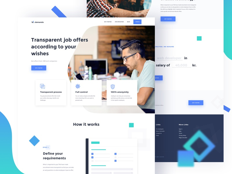 Demando - Recruitment Marketplace Homepage features employers talent candidates job search saas tech talent tech recruitment recruitment marketplace