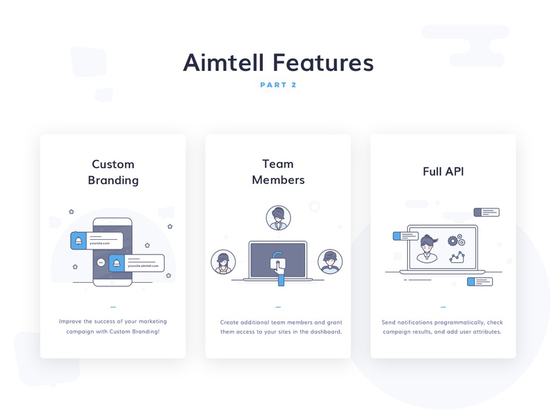 Aimtell - Website Push Notifications Illos, part 2 by Denisa
