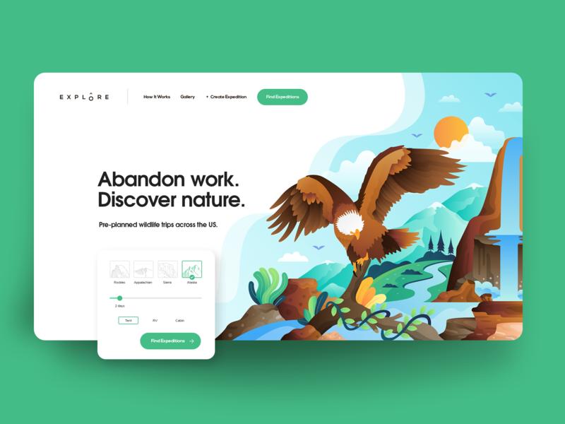 Explore hero green form design animals illustrated isometric wildlife eagle eagle illustration illustration branding website design landing page