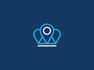 Kingpin Logo (Crown inspired) branding logomark blue symbol logo airline travel map marker pin crown