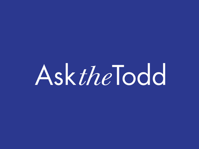 Ask The Todd Logo minimalist clean white typography font blue branding logo logotype