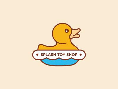 Splash Toy Shop Logo branding store shop toy splash blue yellow logo duck