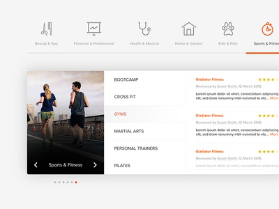 UI Category Listing ratings listing listings rating reviews business icons scroll categories ui