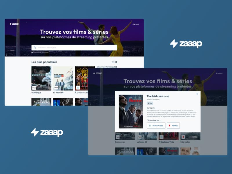 zaaap - Trouvez vos films & séries website video prime video netflix series serie tv shows tv show web design webdesign web movies theater cinema movie ux ui figma design