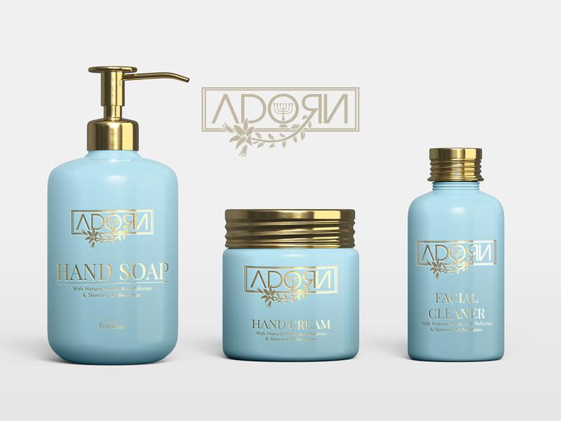 Adorn Cosmetics mockup cosmetics illustrator gold logo design branding design logo