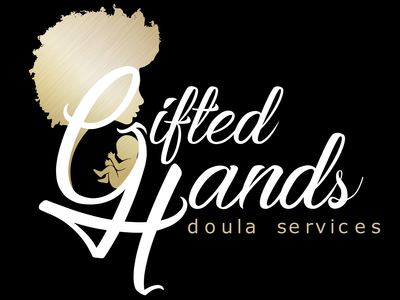 Gifted Hands Doula Services midwife infant baby services doula afro calligraphy design typography branding vector illustration illustrator gold