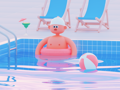 Swimming Pool beach ball cocktail pool swimming swimmer swim 3d c4d cinema 4d