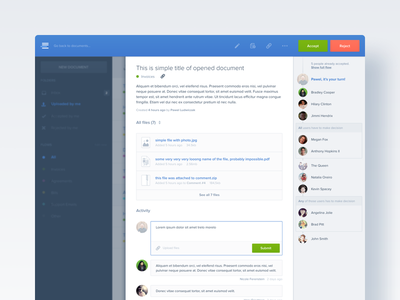 Flowsane – Document form comments blue popup modal overlay document flowsane