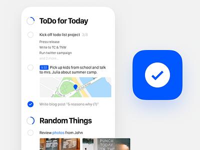 TODO in Figma circles blue minimalistic simple ios app todo