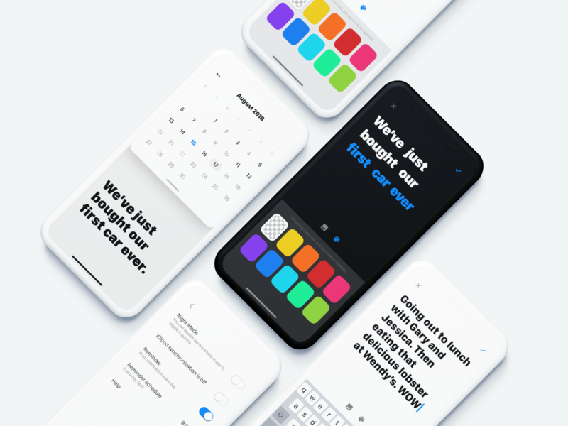 Highlight of The Day – screens overview app calendar typing dark mode ios iphone ui