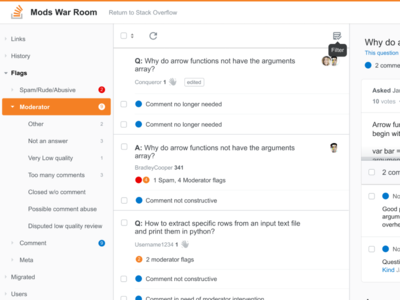 Stack Overflow Mod Tools Concept columns sidebar stack overflow moderation