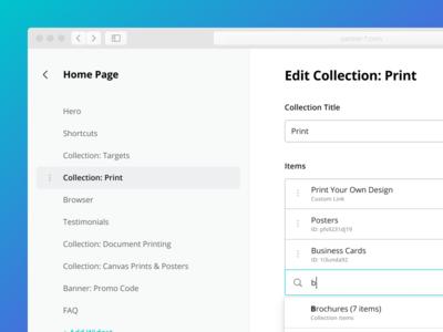 CMS Editor desktop app sidebar navigation product design editor ui form