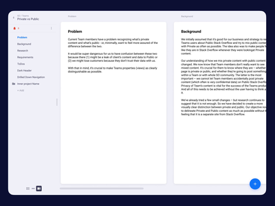 Project Management Tool ui app horizontal scroll editor cards
