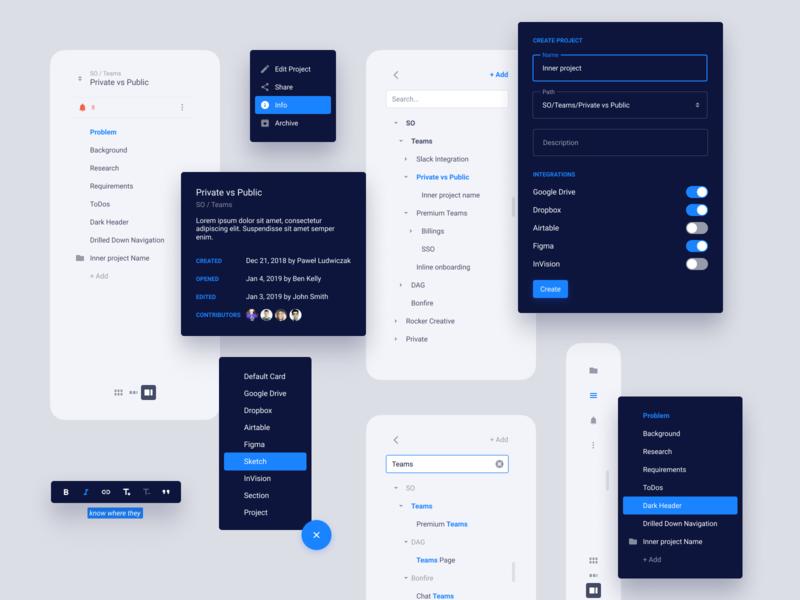 UI elements fab ui design switch form sidebar navigation modal popup dropdown ui