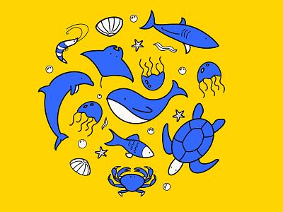 Sea spirits composition turtle whale fish blue yellow cartoon happy design minimalism minimalillustration illustration sea animal