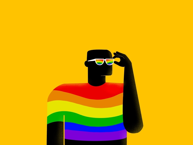 He is Pride. gaypride sunglasses colors character design happy pride illustration
