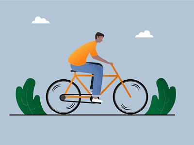 Summer Ride. guy boy bike design man cyclist cycling bicycle illustration
