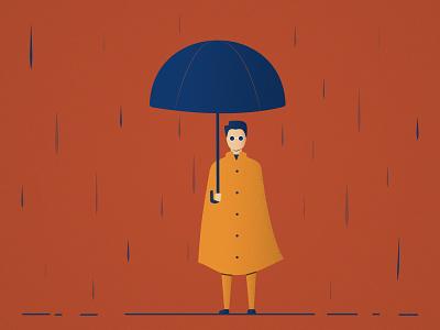 Autumn rainy dramatic glasses fall street graphic design umbrellas design mysterious man illustration rainy orange autumn water umbrella rain