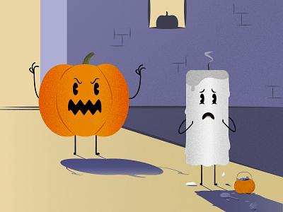 Trick or treat! afraid octoberfest design candies candy autumn seasons halloween characters candle pumpkin inktober october illustration