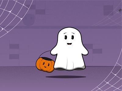 Boome! character happy spooky october design vector pumpkin ghost halloween autumn illustration
