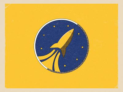 Spaceflight! weekly weekly warm-up spaceflight spaceship flight yellow blue stars rockets rocketship rocket vector design illustration
