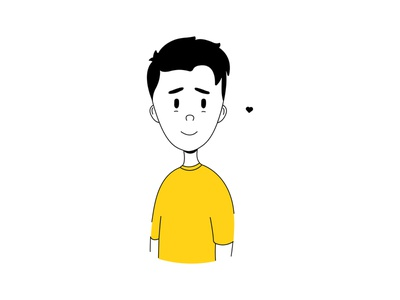 Yellow Boy black blackandwhite december character design happy human persona heart love yellow minimalist illustration