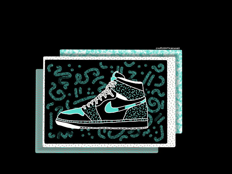 Nikes on my feet 👟👟 with a touch of Keith Haring ✨ true grit texture supply patterns collage texture play keith haring inspiration graphic design hand drawn illustration illustration nike clairssmithdesigns