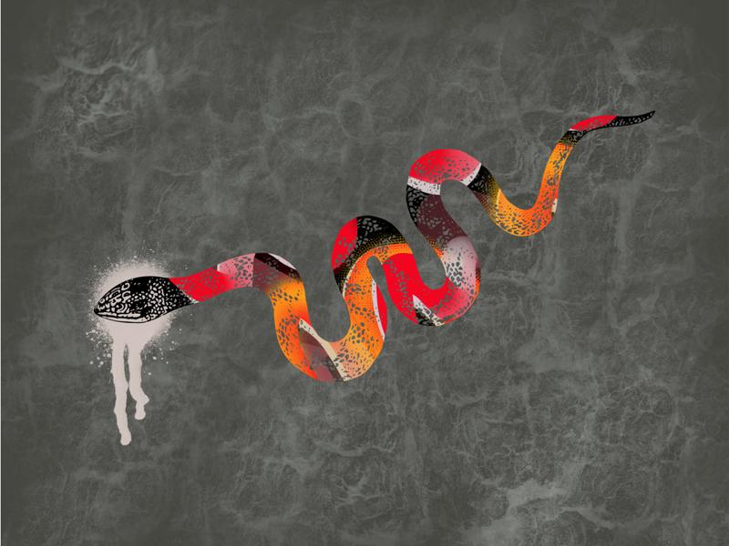 Slippery 🐍 snake throw back graphic design hand drawn illustration illustration texture play clairssmithdesigns