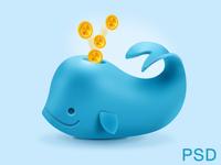 Coins Whale (PSD freebie)