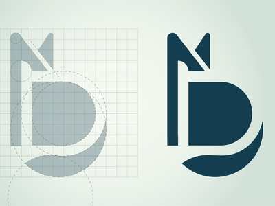 Logo Process | Grid circular grid animal shiba inu shiba icon d mark corporate mark logo