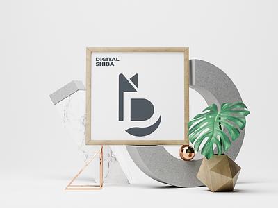 Digital Shiba positive space negative space monogram shiba inu shiba illustration brand logo