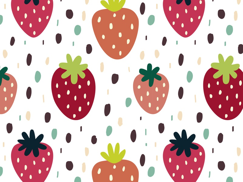 Seamless pattern with strawberries tropical hand drawn vector decoration backdrop banner summer background fruit red textile pattern design wrapping papaer wallpaper strawberry strawberries pattern design seamless pattern